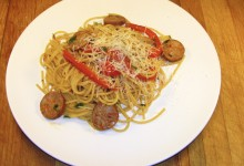 Smoked Sausage with Red Peppers and Spaghetti