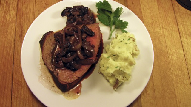 Beef Roast with Smoky Mushrooms and Caramelized Onions